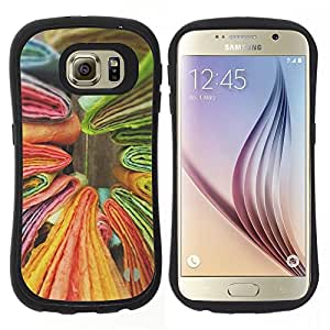 """Pulsar iFace Series Tpu silicona Carcasa Funda Case para Samsung Galaxy S6 , Libros Verde Amarillo Colorido"""""""