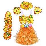 BESTOYARD 6Pcs Tropical Hula Grass Skirt Hawaiian Fancy Dress Costume Set Kids Flower Leis Bracelets Headband Necklace Bra Set 40cm (Orange Skirt)