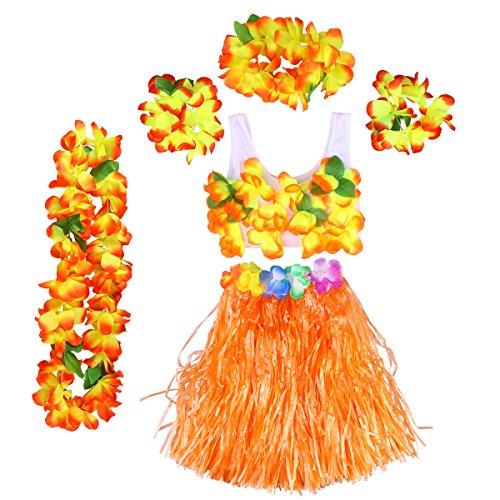 BESTOYARD 6Pcs Tropical Hula Grass Skirt Hawaiian Fancy Dress Costume Set Kids Flower Leis Bracelets Headband Necklace Bra Set 40cm (Orange Skirt) by BESTOYARD