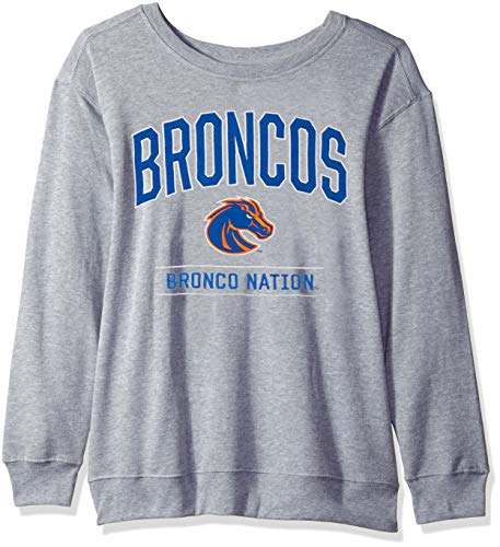 - J America NCAA Boise State Broncos Womens NCAA Women's Light Weight Oversized Fleece, X-Large, Oxford