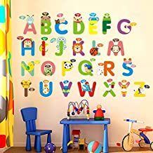 IceyDecaL Fun Educational Alphabet with Animals Wall Decals for Kids Rooms, Nursery, Baby, Boys & Girls Bedroom Peel Stick, Large Removable Wall Stickers. Premium, Bring Your Walls to Life