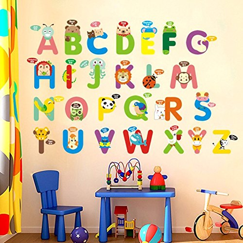 World Cursive Alphabet Set (IceyDecaL Fun Educational Alphabet with Animals Wall Decals for Kids Rooms, Nursery, Baby, Boys & Girls Bedroom Peel Stick, Large Removable Wall Stickers. Premium, Bring Your Walls to Life)