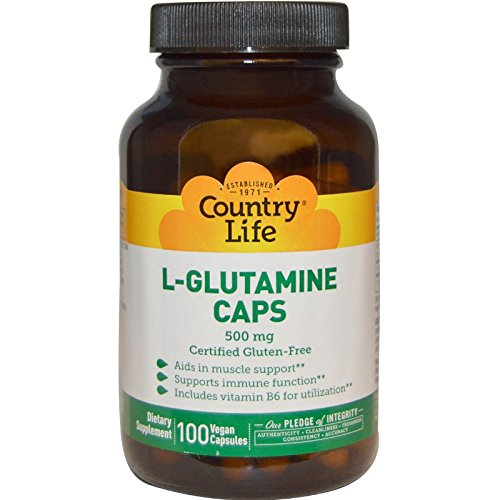 Country Life L-Glutamine, 500 mg with B-6 - 100 Vegan Capsules