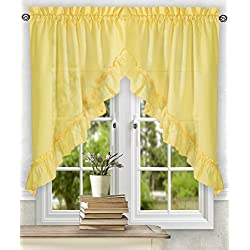 Ellis Curtain Stacey 60-by-38 Inch Ruffled Swag Curtain (Yellow)