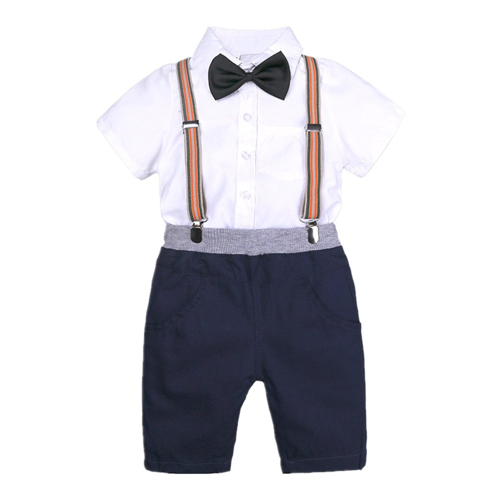 Beide Little Boys 2Pcs Gentleman Outfits Bowtie Polo Shirts Bid Shorts Overalls (White,6T)
