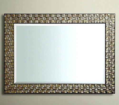 Premierinteriors John Lewis Wand Spiegel Holz Mosaik Rahmen Antik Silber Champagner 117 x 92 cm