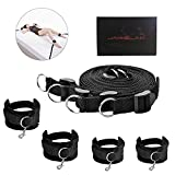 Bed Restraint Kit with Adjustable Fur Cuffs for Ankle, Legs, Hand, Wrist for Couple's Game