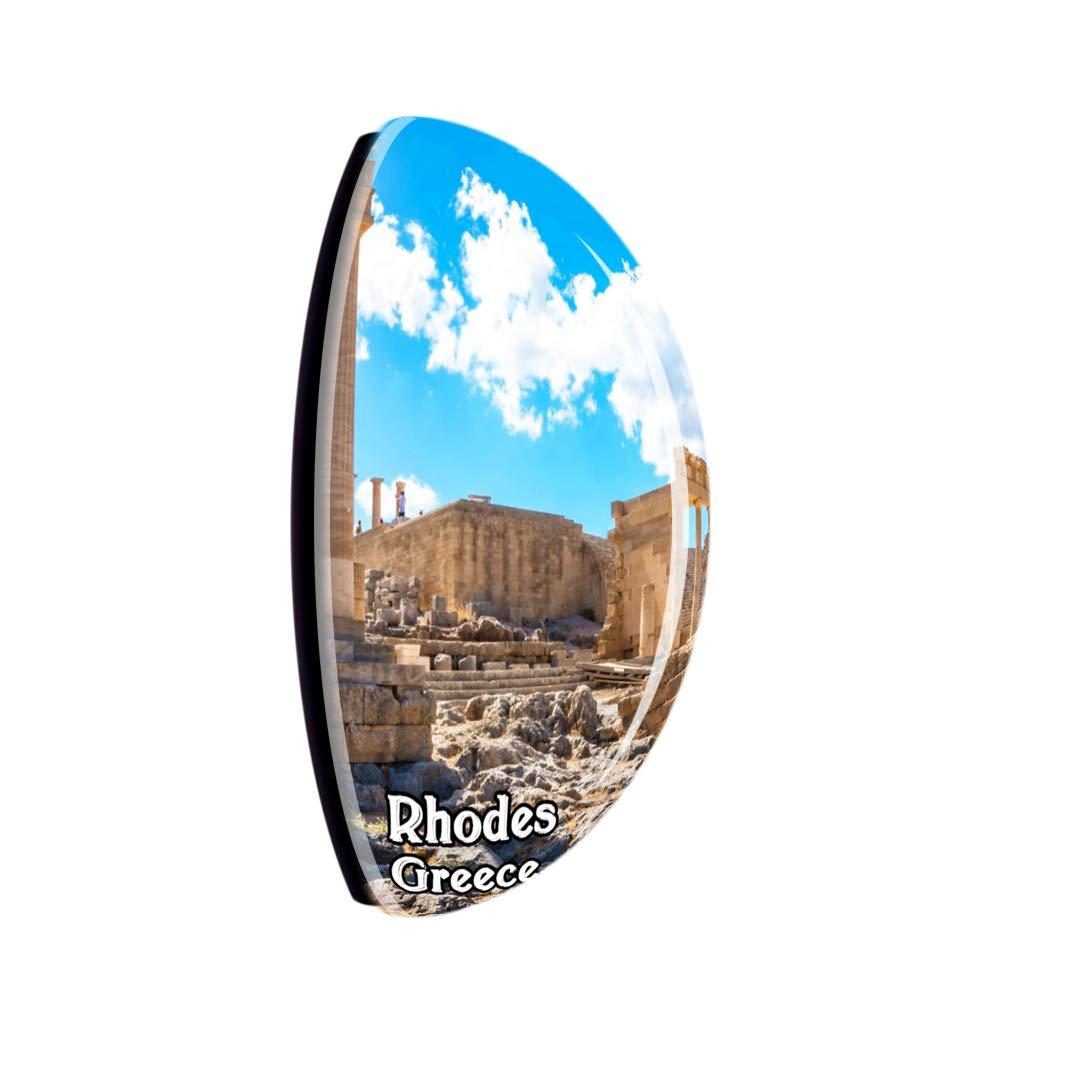Weekino Acropoli di Lindos Rodi Grecia Fridge Magnet 3D Crystal Glass Tourist City Viaggio Souvenir Collection Regalo Forte Frigorifero Sticker