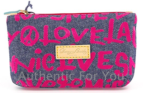 Disney Dooney & Bourke Pink Denim Wallet - Mickey Minnie Peace Love Laugh Smile
