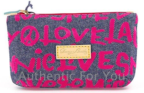 Disney Dooney & Bourke Pink Denim Wallet - Mickey Minnie Peace Love Laugh Smile