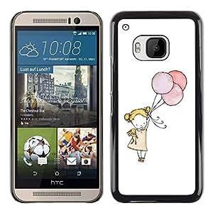 Pequeña muchacha del globo Arte Blanco Madre Mamá- Metal de aluminio y de plástico duro Caja del teléfono - Negro - HTC One M9