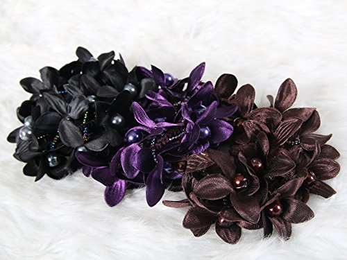 Classic flower elastic ties ponytail holder Stunning look 3 color mix (Set 3)