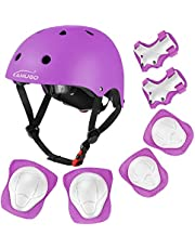 KAMUGO Kids Bike Helmet, Toddler Helmet for Ages 2-8 Boys Girls with Sports Protective Gear Set Knee Elbow Wrist Pads for Skateboard Cycling Scooter Rollerblading