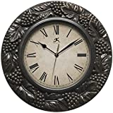 grapes wall clock - Infinity Instruments Napa 13.5 inch Silent Sweep Wall Clock