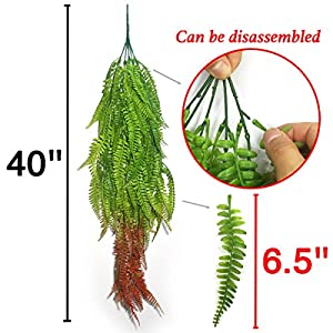 Artificial Boston Fern Bush Vines Faux Plants Hanging Vine Shrubs Greenery Bushes for Indoor Outside Home Garden Office Verandah Wedding Decor 7