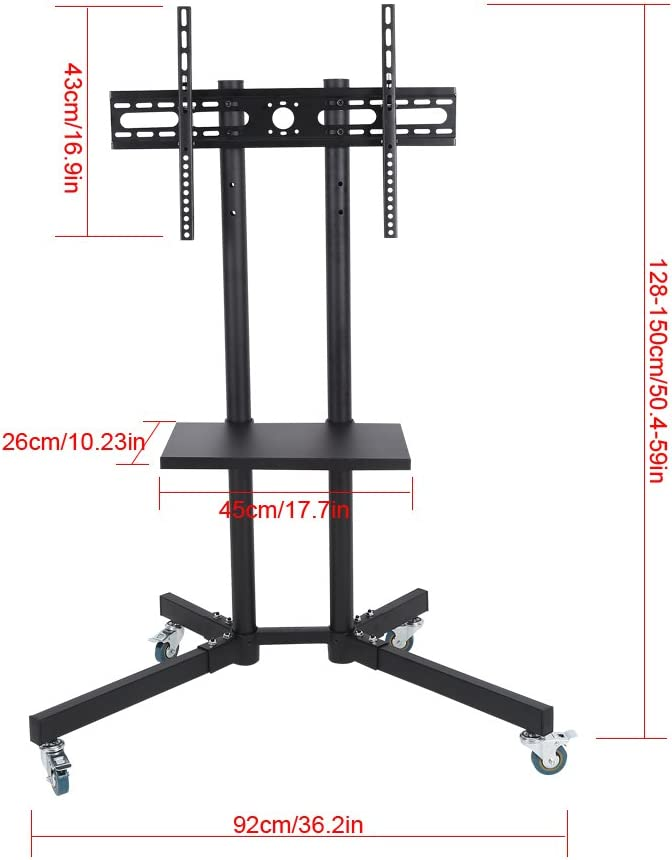 Mobile TV Cart Shelf Standing Mount Home Display Trolley for 32-65 Inch LCD//LED Flat Panel Screen Trolley Floor Stand with Wheels Qiilu Adjustable TV Cart Stand