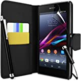 Supergets® Sony Xperia Z1 Premium Wallet Flip Case / Cover , Screen Protector and 2 x High Capacitive Touch Screen Stylus