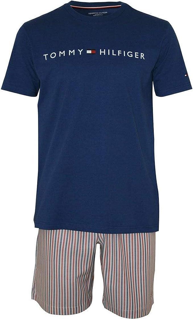 Tommy Hilfiger Camiseta De Punto Y Shorts Tejidos Conjunto De Pijama para Hombre, Azul Sodalita