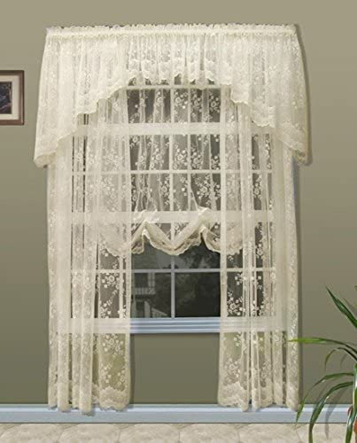 Commonwealth Mona Lisa Lace Tailored Panel, 56 W X 54 L, White Balloon Shade 56 W x 63 L, Shell