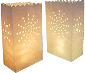 White Paper Tea Light Candle Lantern Bags Wedding Party Garden BBQ Xmas Decor(Firework) Pack of 30