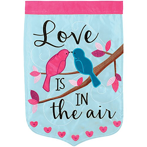 Love Is In The Air Birds Applique Garden Flag - 13
