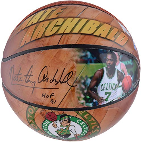 Basketball Autographed Archibald (Nate Archibald Boston Celtics Autographed Photo Mini Basketball with Multiple Inscriptions - Fanatics Authentic Certified)