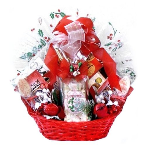 Bright Yuletide Wishes Christmas Holiday Gourmet Snack Food Gift Basket