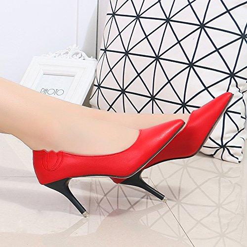 KPHY Zapatos de Tacón Alto para Mujer, Tacones Finos, Cabezales Afilados, Zapatos de Boca, Zapatos de Boda, Zapatos de Trabajo, Profesión, Zapatos Individuales, Primavera y Verano gules
