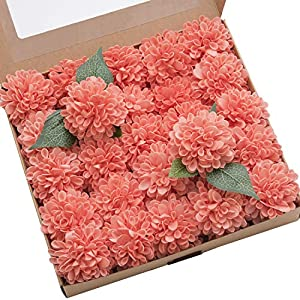 Ling's moment 25pcs Coral Real Looking Fake Dahlia Artificial Flowers w/Stem for DIY Wedding Bouquets Centerpieces Arrangements Party Baby Shower Home Decorations 94
