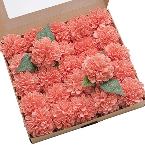 Ling's moment 25pcs Coral Real Looking Fake Dahlia