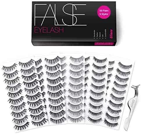 Eliace 50 Pairs 5 Styles Wispies Fake Eyelashes with Tweezers