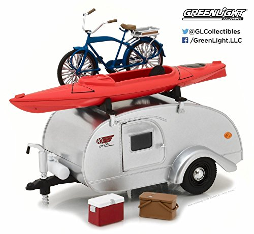 1947 Ken Skill Tear Drop Trailer with Accessories, Silver - Greenlight 18420A/12 - 1/24 Scale Diecast Model Toy -