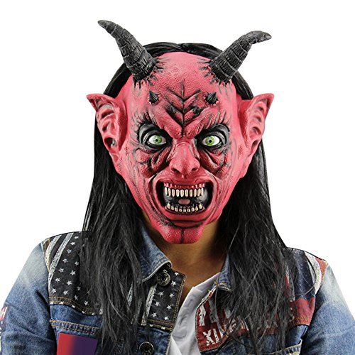 Najer Halloween Horror Funny Satan Devil Latex Mask with Wig Ox Horn Masquerade