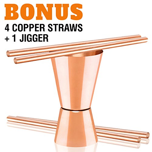 Moscow Mule Copper Mugs - Set of 4-100% HANDCRAFTED - Food Safe Pure Solid Copper Mugs - 16 oz Gift Set with BONUS: Highest Quality Cocktail Copper Straws and Jigger! by Benicci (Image #1)