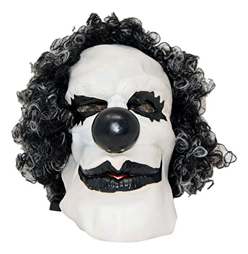 Krazy Clown Mask - Black hair with White Scary face