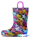 Outee Kids Toddler Girls Rain Boots Waterproof Light up Lightweight Colorful Star Cute Lovely Funny Print with Easy-On Handles (Size 11,Purple)