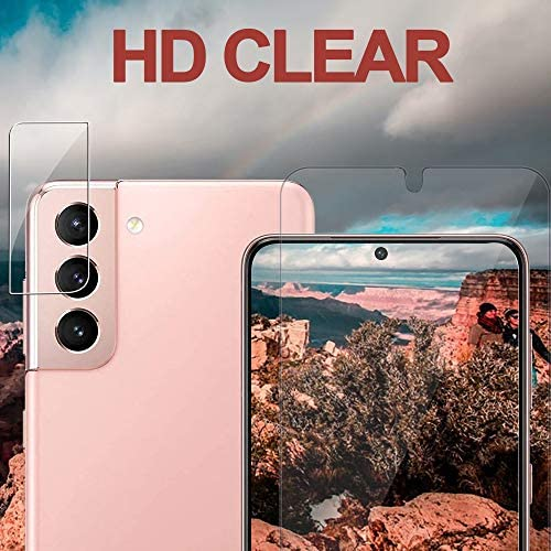 [2+2 Pack] Galaxy S21 Screen Protector Include 2 Pack Tempered Glass Screen Protector + 2 Pack Tempered Glass Camera Lens Protector, Ultrasonic Fingerprint Supported,Compatible for Galaxy S21