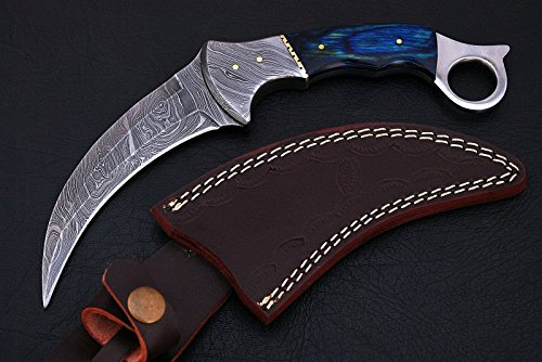 Noshra Wholesale Blue Wood Handle Karambit Blade Custom Made Damascus Steel Full Tang Hunting Knife with 100% Prime Quality Blade with Silver Bolster with Leather Case