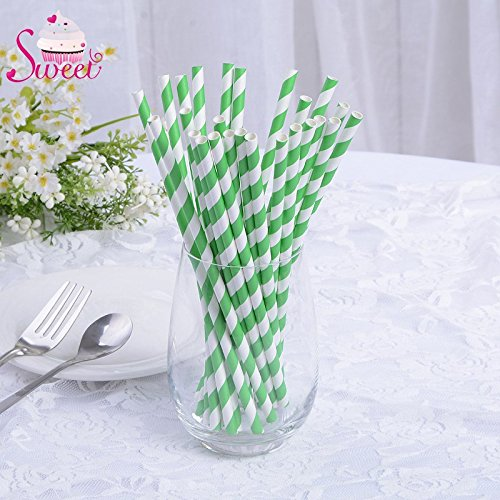 Drinking Straws Suppliers - Party Decoration Supplier Wholesale Wedding Party Frunit Drinking Light Green Striped Paper Straws