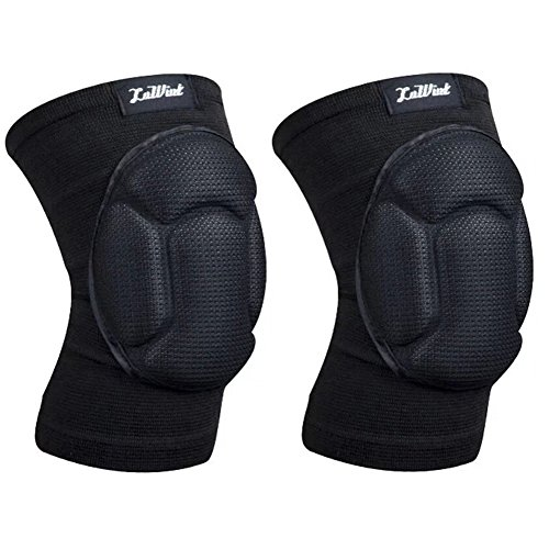 Luwint Adults Basketball Volleyball Knee Pads - Compression Sleeves Protection Gear Brace Support for Snowboards Work Gardening Weightlifting Running Gym Yoga, 1 Pair (Black)]()