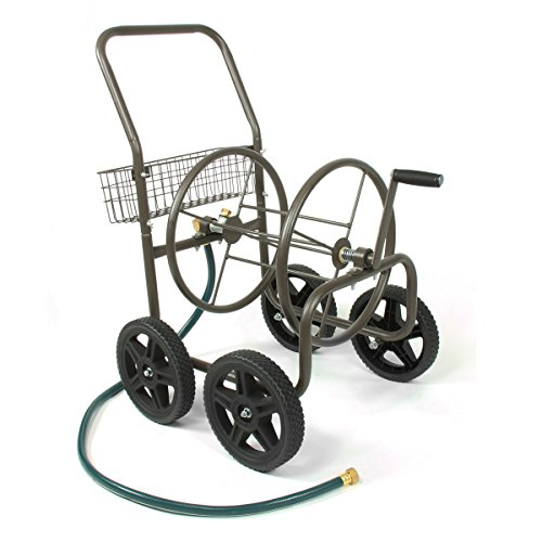Steel Hose Reels - Liberty Garden 871-S Residential Grade 4-Wheel Garden Hose Reel Cart, Holds 250-Feet of 5/8-Inch Hose - Bronze