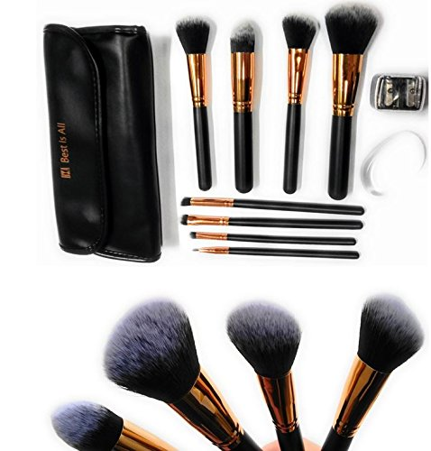 BIA Best professional makeup brushes set with case complete kit Premium Synthetic Foundation Face Powder Blush Eyeshadow eyeliner concealer cream blending free gifts silicon puff eyepencil sharpener - Animal Free Makeup Brush Powder