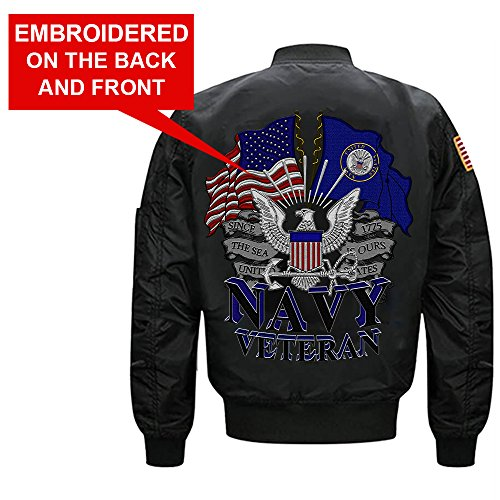 US Navy Veteran MA-1 Flight Embroidered Bomber Jacket (XX-Large, (Navy Flight Jacket)