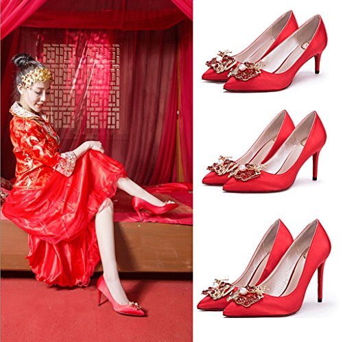 Dream New Satin Red High Heels Fine With The Wedding Shoes Dragon and Phoenix Deduction Diamond Tip Shallow Mouth Silk Bridal Shoes (Color : Red 10cm, Size : 34)