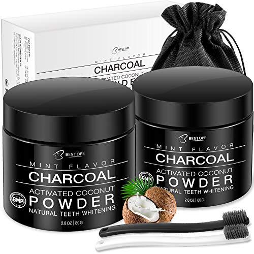 MayBeau Teeth Whitening Charcoal Powder[2 Pack], Natural Activated Charcoal Teeth Whitener Powder with 2 Brush Oral Care Set (2.8 oz x 2)