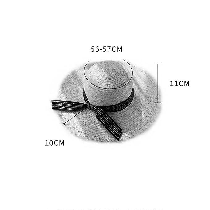 Cappello di Paglia di Rafia Pioggia Pieghevole per Vacanze estive Cappello  da Spiaggia Parasole per Il Sole Coreano Selvaggio Piccolo Fresco (Colore  ... 6a108b0bea26