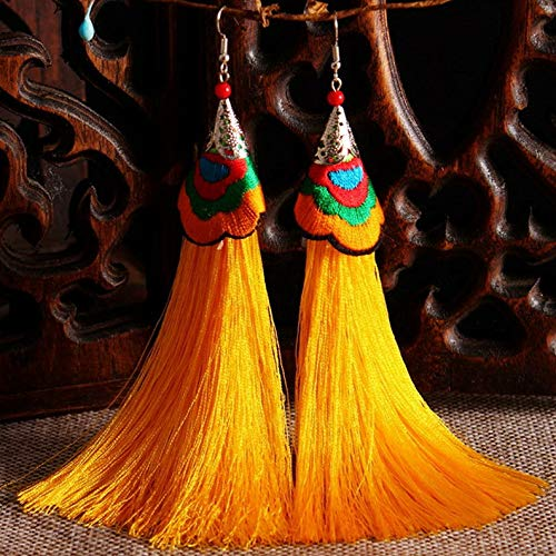 Monowi Women Fashion Bohemian Earrings Vintage Long Tassel Fringe Boho Dangle Earrings | Model ERRNGS - 4962 |