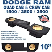 Dodge Ram Quad Cab & Crew Cab 10 Dual Subwoofer Enclosure Black