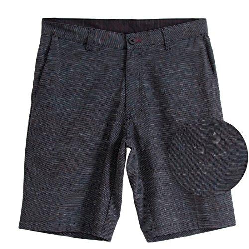 Mens Hybrid Shorts Quick Dry Lightweight Stretch Boardshorts Walkshort-(Black-30)