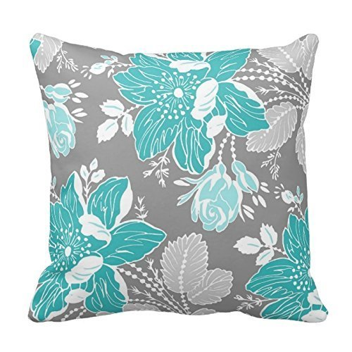 [YOUHOME Chic Teal and Gray Floral Pattern Decorative Throw Pillow Cover Cushion Case Home Square 18 X 18 Inches Two] (Animals That Start With The Letter T)